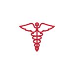 Contorno rojo de un caduceo médico