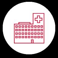 مخطط أحمر لمبنى مستشفى