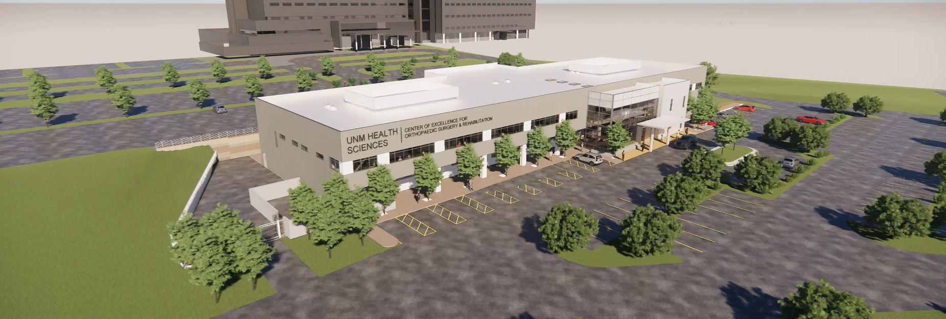 新墨西哥大学骨科手术与康复卓越中心的概念图
